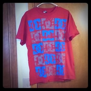 Red DC tshirt with design